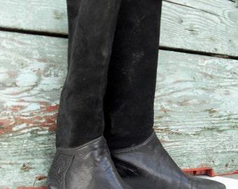 Size 7 1/2,  VIA SPIGA Italian Leather Black Boots, Retro Leather Boots, Black Leather Boots,