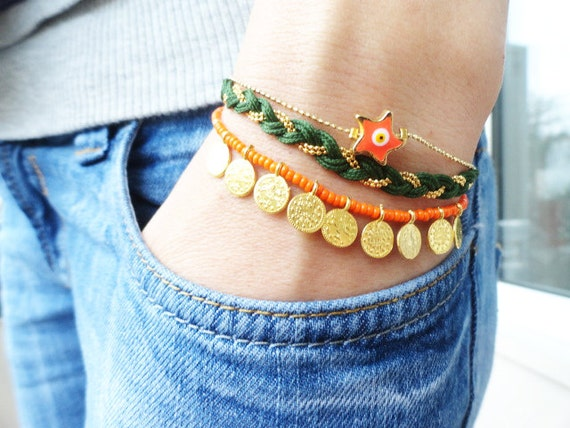 Evil eye bracelet green orange turkish istanbul jewelry turqoise accessories best friend christmas birthday gifts for women fish charm teen
