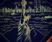 Vintage 1980 NYC Twin Towers Skyline Scarf New York City Pre 9-11 Collectable -SOLD-