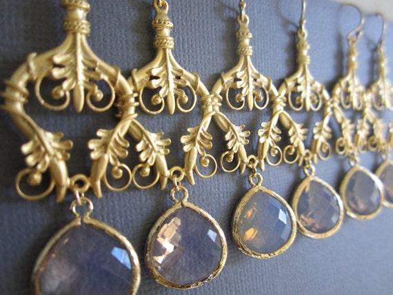 Set of 4, chandelier earrings, Wedding/Bridesmaid earrings, Opal Glass Pendant on 18K Vermeil chandelier.