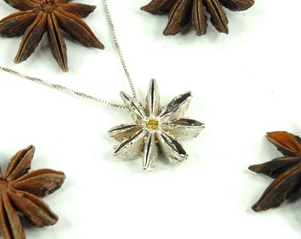 Star Anise Pod Cast in Sterling Silver with 3 mm Golden Topaz Center Stone Pendant Necklace