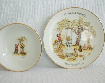 Holly Hobbie dishes, Holly Hobbie dish plate & bowl set, 1973, Made in Japan WWA World Wide Arts Table Talk, baby gift, nursery, friendship