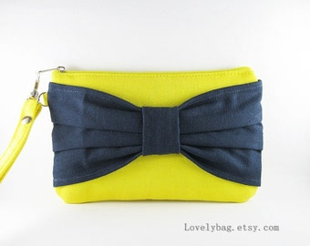 SUPER SALE - Yellow with Navy Bow Clutch - Bridal Clutches, Bridesmaid Wristlet, Wedding Gift, Cosmetic Bag, Zipper Pouch - Made To ORder