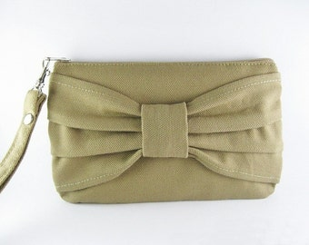 SUPER SALE - Khaki Bow Clutch - iPhone 5 Purse, iPhone 5 Wallet, Cell Phone Wristlet, Camera Bag, Cosmetic Bag, Zipper Pouch - Made To Order