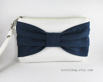SUPER SALE - Ivory with Navy Blue Bow Clutch - iPhone Wristlet, Cell Phone Wristlet, Cosmetic Bag, Camera Bag, Zipper Pouch - Made To Order