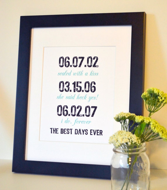 The best days ever art 8x10 First anniversary gift Engagement party decoration Wedding sign Unique wedding gift Anniversary present for wife