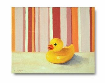 "Original Children's Room Art, Oil Painting, ""Rubber Duckie"" pink, orange, white, yellow, stripes, bathroom art,  kid's art, wall decor"