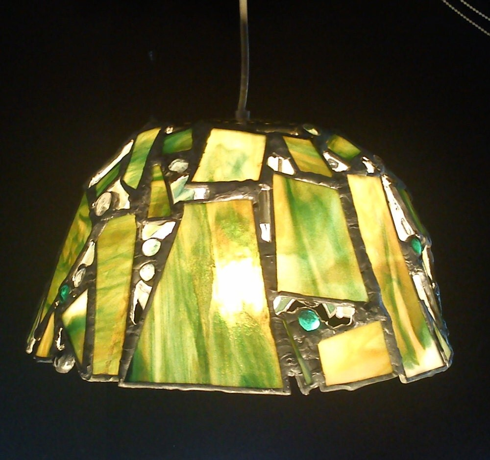 stained glass mosaic hanging swag lamp shade with by strangeglass. Black Bedroom Furniture Sets. Home Design Ideas