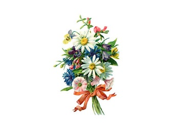vintage spring flowers bouquet temporary tattoo