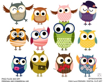 Owls and friends Digital clip art for Personal and Commercial use - INSTANT DOWNLOAD