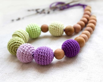 Nursing necklace - Breastfeeding Necklace - Crochet Necklace for mom and child - Teething necklace with crochet beads