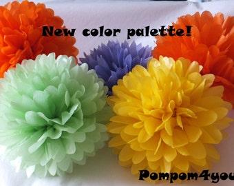 30 Tissue Paper Pom Pom Mix
