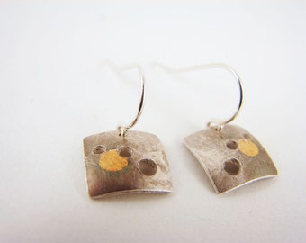 "Fine Silver and 24k Gold ""Eclipse"" Square Circles Earrings"