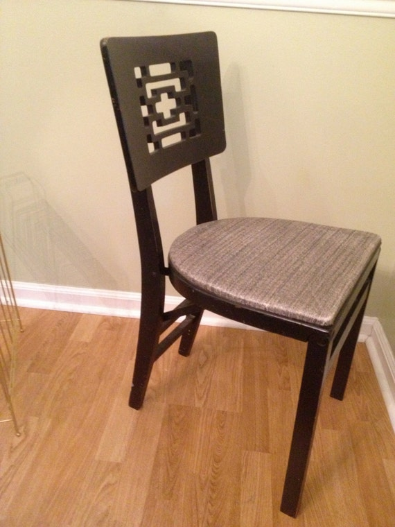 Vintage Chinoiserie Folding Black Chair by Stakmore