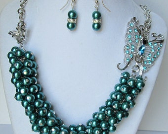 Teal Rhinestone Butterfly Cluster Necklace & Earring Set