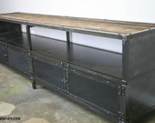 Handmade Media Console/Credenza - Urban Modern entertainment center, Vintage Industrial design. Reclaimed wood top & Steel.
