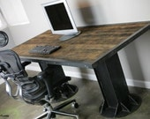 Modern Industrial Desk,Table. Vintage style. Reclaimed wood top. Steel I-beams, rivets. Custom sizes avail.  Great for modern loft decor.