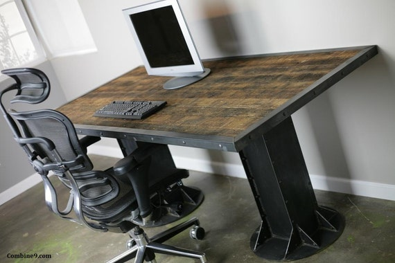 Reclaimed Wood Rustic Home Office: Industrial Desk. Vintage Style Table. Reclaimed Wood And Steel