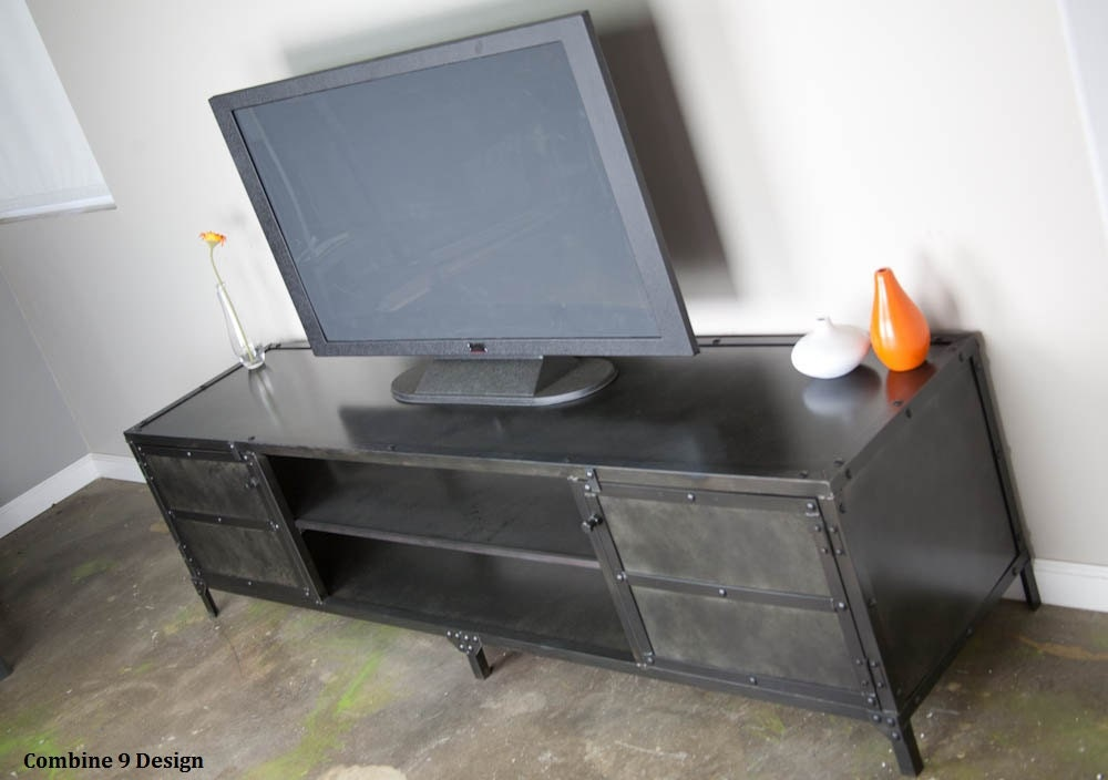Vintage Industrial Media Console Tv Stand Credenza Custom