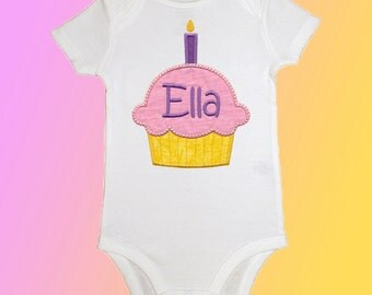 Birthday Baby Shirt Bodysuit - Personalized Applique - Cupcake Candles - Embroidered Short or Long Sleeved