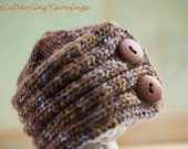 0 - 3 Month Newborn Baby Girl / Boy Knitted Beanie Hat with Buttons