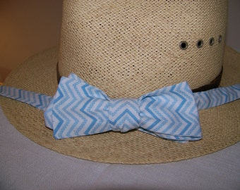 Blue and White Striped  Spring Summer - Cotton Men's Bow Tie -  Adjustable