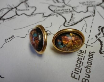 Vintage Gold Speckled Earrings