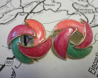 Vintage Pastel Enamel Earrings