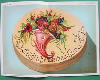 GERMAN BAKERY Baking Merry Christmas Cake Tart with Horn of Flowers & Fruits - Early 1900s COLOR Lithograph Antique Print