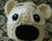 Crochet Teddy Bear Hat, Size 3-6 Months, Photo Prop