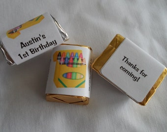 30 Unique Personalized Crayon Theme Party Favor Hershey's nugget labels, candy wrapper labels
