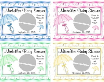 Unique Personalized Umbrella Theme Baby Shower Scratch off Lotto Ticket Game Cards