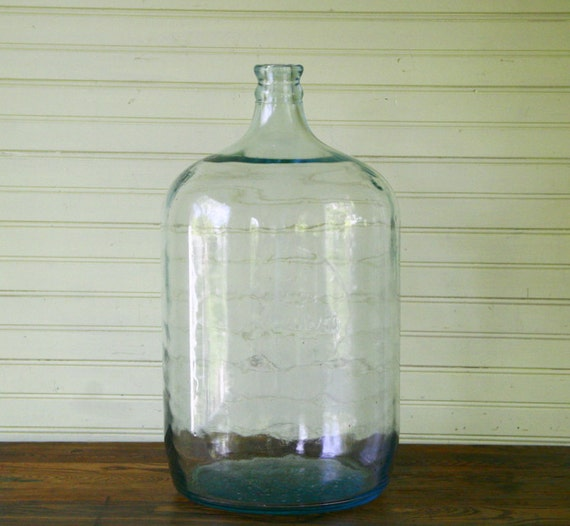 Vintage Blue Green Glass Carboy Demijohn Bottle With By