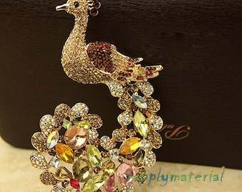 1PCS Bling Champagne Crystal Peacock Flatback Alloy Jewelry accessories material supplies