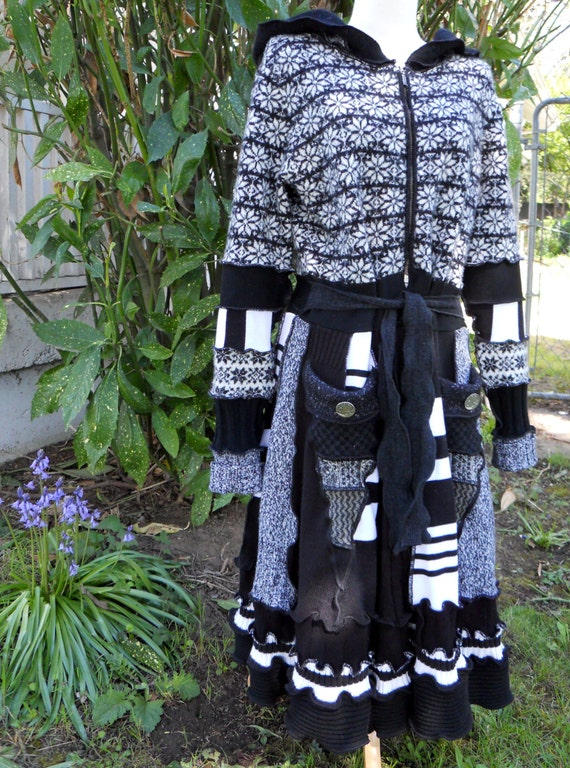 Recycled Sweater Coat Black White Pixie Hood Festival Moon Buttons Eco Upcycle