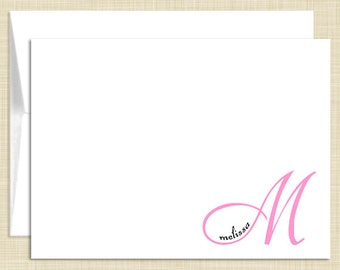 Monogram Stationery -  set of 10 - folded note cards - UNIQUE MONOGRAM