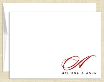 Monogram Stationery - set of 10 - folded note cards - COUPLE MONOGRAM