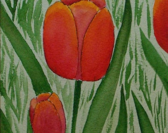 Little Field of Tulips Original Watercolor Painting - Free Shipping