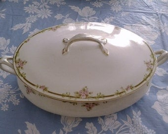 Johnson Bros Covered Serving Dish with Gold Trim, Pink Roses and Swagging Leaves