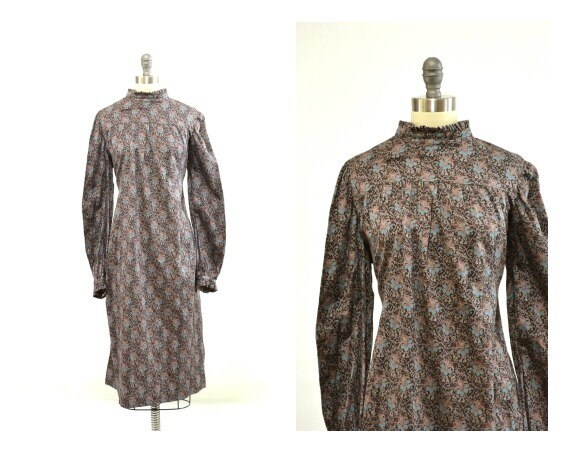 Vintage 80s Brown Floral Dress- Vintage Plus Size - Specialty Sizes - 2X 3X XXL XXXL