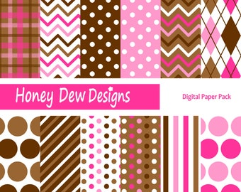 Instant Download - Digital Paper Pack 196 - Pink and Brown Digital Paper