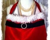 Mrs. Santa Purse/Xmas Purse/Red Purse/Rhinestone buckle/Black Velvet Ribbon