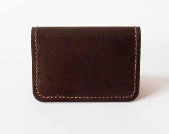 Leather Card Case - Leather Card Holder in Dark Brown - Simple Wallet for Men - Handmade and Hand Stitched - Free Monogram