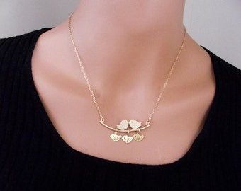 Love Birds Necklace, Gold Plated  Bird Necklace,  Sparrow Necklace, Kissing birds necklace, Sparrow bird -  Cute, Dainty, mother, mom, teen