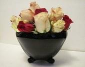 Art Deco Vase Console Bowl Black Amethyst Glass Fenton