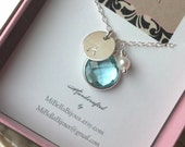 Bridesmaid, New Mom Necklace--Light Blue Topaz, Pearl, Monogrammed Initial Necklace Sterling Silver/Gift For Friend