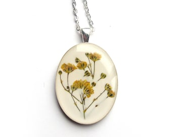 Yellow Baby Breath Resin Pendant Necklace - Real pressed flowers encased in resin, Pressed Flower Jewelry - Resin Necklace