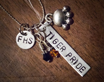 School Spirit Stamped Metal Necklace