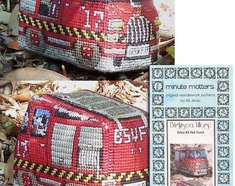 3D BrightSea Village Extra 3 Fire Truck Cross Stitch Pattern