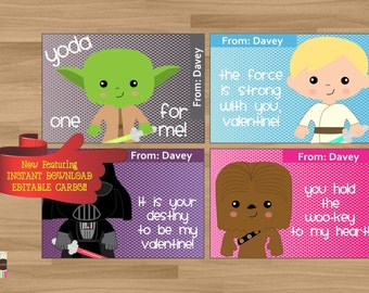 INSTANT DOWNLOAD - EDITABLE - Printable Personalized Kids Valentine's Day Cards with Star Wars Pals - 4 card set